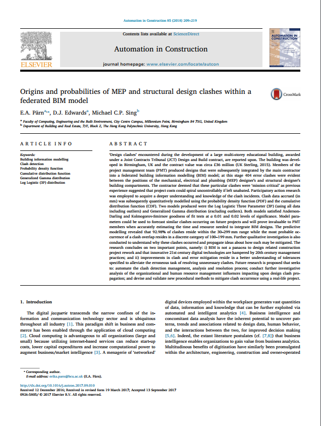 Origins and probabilities of MEP and structural design clashes within a federated BIM model