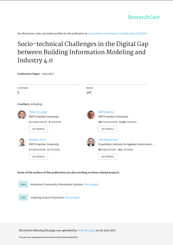 Socio-technical Challenges in the Digital Gap between BIM and Industry 4.0